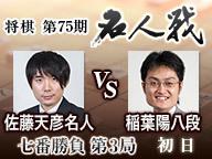 【将棋】名人戦 第3局 初日 佐藤名人vs稲葉八段